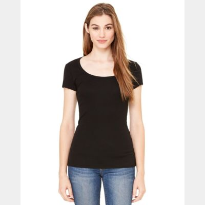 Women's Sheer Mini Rib Scoopneck Tee Thumbnail