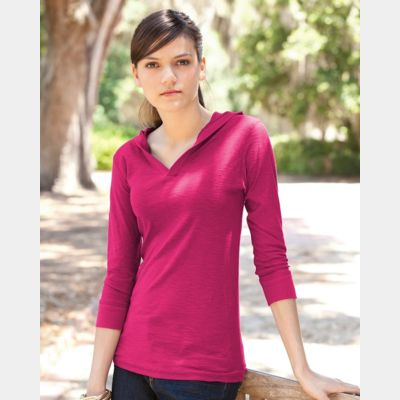 Women's Three-Quarter Sleeve Hooded Slub Tee Thumbnail