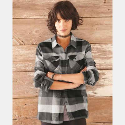 Women's Yarn-Dyed Long Sleeve Flannel Shirt Thumbnail