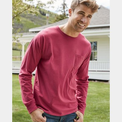 Garment Dyed Long Sleeve T-Shirt With a Pocket Thumbnail