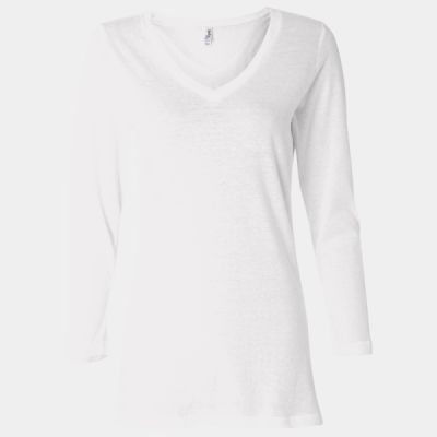 Missy Three-Quarter Sleeve Jersey V-Neck T-Shirt Thumbnail