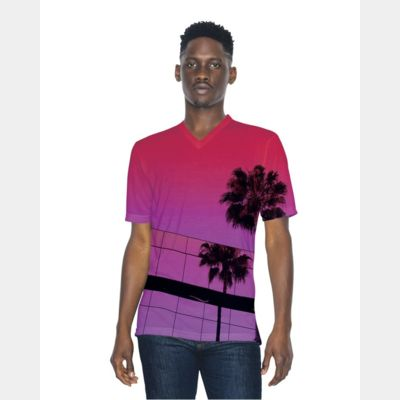 Unisex Sublimation Short Sleeve Classic V-Neck T-Shirt Thumbnail