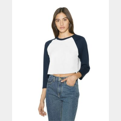 Women's Poly/Cotton Three-Quarter Sleeve Cropped T-Shirt Thumbnail