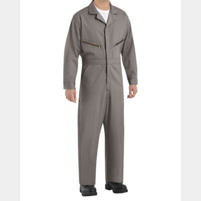Zip-Front Cotton Coverall Long Sizes Thumbnail