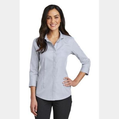 Ladies 3/4 Sleeve Nailhead Non Iron Shirt Thumbnail