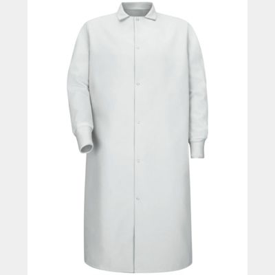 Gripper-Front Pocketless Butcher Coat With Knit Cuffs Thumbnail