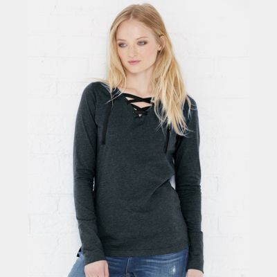 Women's Fine Jersey Lace-Up Long Sleeve T-Shirt Thumbnail